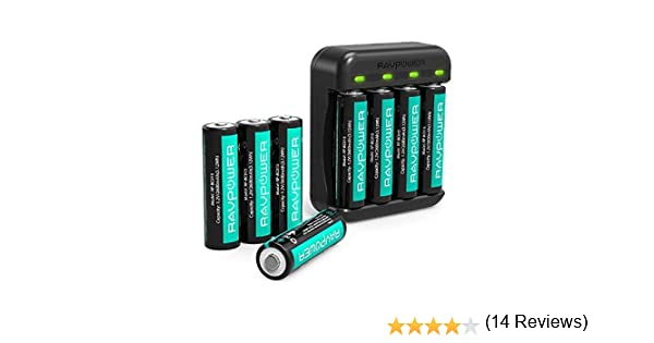 2 Pack RAVPower Piles AA Rechargeable Lot de 8 avec Chargeur Batteries AA 2600mAh Haute Capacit/é Ni-MH avec 4 Slots de Chargement pour Piles AA Piles AAA