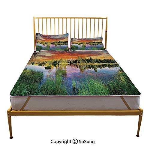 Landscape Creative King Size Summer Cool Mat,Calm Natural Sunrise by River Forest Trees Clouds Weeds Sun Reflection on Water Sleeping & Play Cool Mat,Multicolor