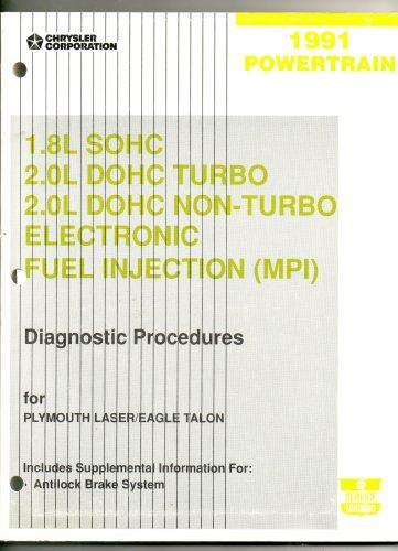 1991 Plymouth Laser/eagle talon 1.8L SOHC 2.0L DOHC Turbo 2.0L DOHC Non-Turbo Electronic Fuel Injection (MPI) Diagnostic Procedures Manual (1991 Powertrain)