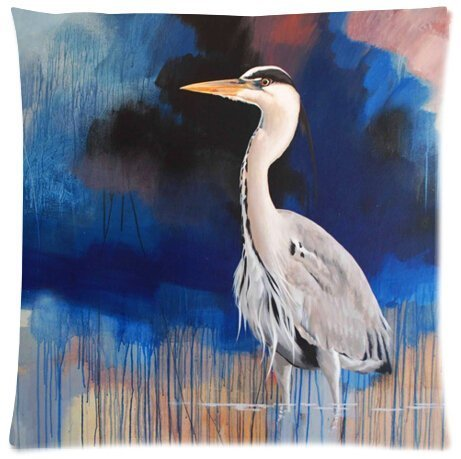- Large beach pants Funny Beautiful Blue Heron Painting Pillowcase - Pillowcase with Zipper, Pillow Protector, Best Pillow Cover - Standard Size 18x18 inches, Twin-Sides Print