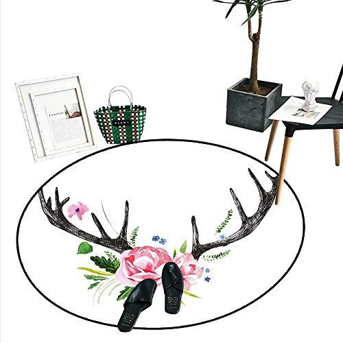 Antler Decor Round Rugs for Bedroom Black Deer Horns with Pink Roses Floral Wreath Design in Watercolors Wildlife Living Dinning Room and Bedroom Rugs (3' Diameter) - Birch Faux Antler