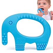Baby Teething Toys - Adorable Blue Silicone Elephant Teether BPA Free - Best For Girl Or Boy Infant Newborn 3 6 12 Months/1 Year Old Cool Sensory Learning Baby Shower/Easter Gifts