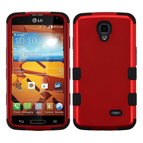 NageBee(TM) - LG Volt LS740 - Design Premium Heavy Duty Defender Hybrid Phone Cover Case + {LCD Screen Protector Shield(Ultra Clear) + Dust Speaker Plug + Touch Screen Stylus} (Hybrid Titanium Red/Black)