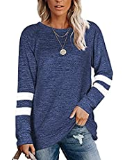 ELF QUEEN Women Long Sleeve T Shirt Crewneck Light Weight Striped Color Block Sweatshirt for Women Solid Tunic Tops