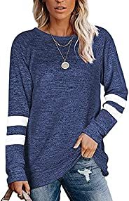 ELF QUEEN Women Long Sleeve T Shirt Crewneck Light Weight Striped Color Block Sweatshirt for Women Solid Tunic