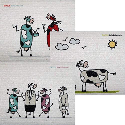 (Mixed Fun Cow Set of 3 Cloths (one of Each Design) Swedish Dishcloths | ECO Friendly Absorbent Cleaning Cloth | Reusable Cleaning Wipes)
