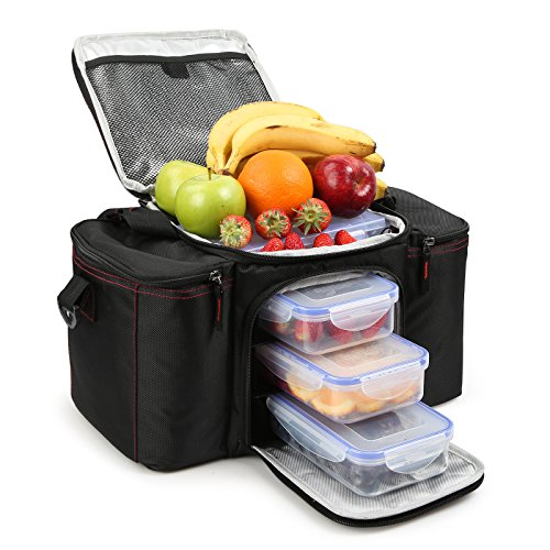 RitFit Cooler&Warm Meal Insulated Lunch Bag with Snap Lid Containers and Ice Pack (Black)
