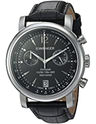 Wenger Mens Urban Classic Chrono Swiss Quartz Stainless Steel and Leather Casual Watch, Color:Black (Model:...