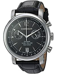 Men's 'Urban Classic Chrono' Swiss Quartz Stainless Steel and Leather Casual Watch, Color:Black (Model: 01.1043.112)