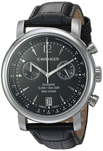 Wenger Men's 'Urban Classic Chrono' Swiss Quartz Stainless Steel and Leather Casual Watch, Color:Black (Model: (Sapphire Mens Chronograph)
