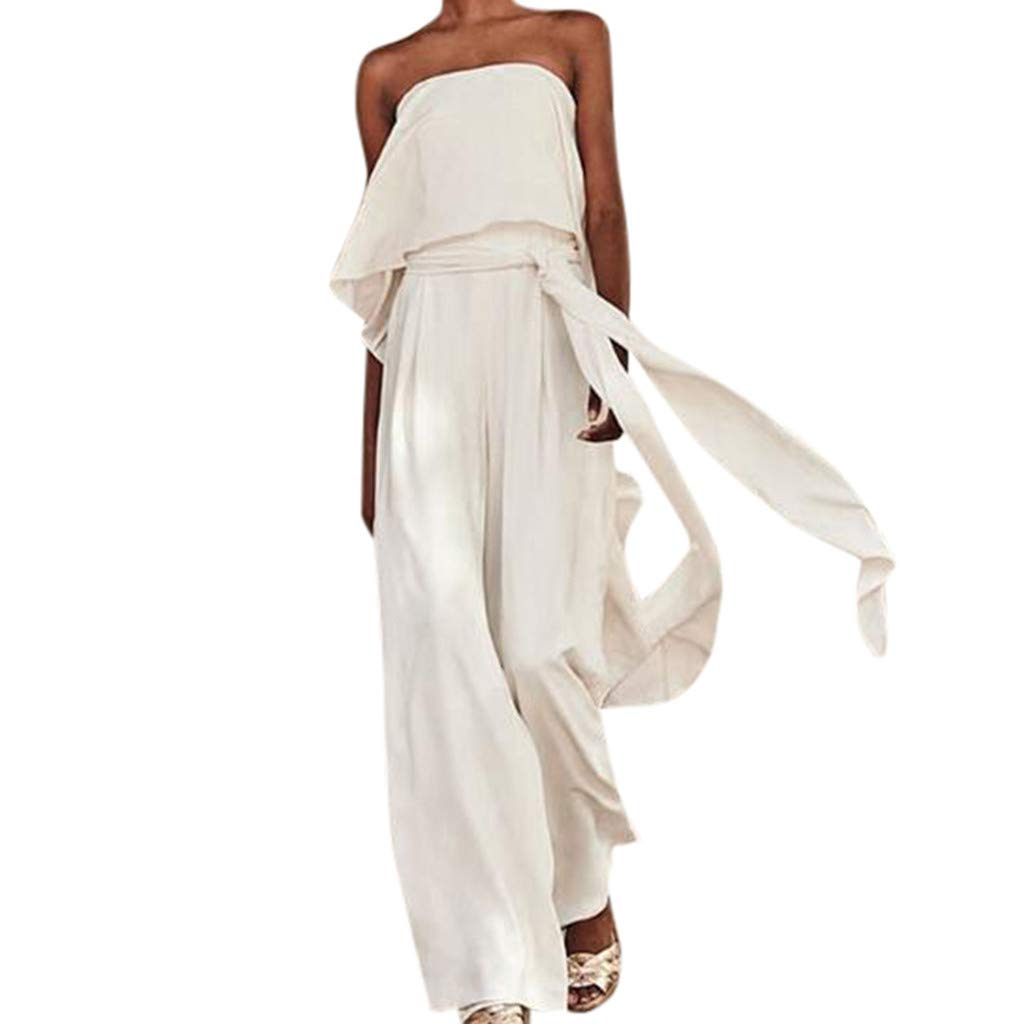 TANLANG New Women Elegant and Flowy One-Piece Dress with A Collar and Off-The-Shoulder Long Pant Solid Color Long Jumpsuit White