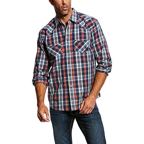 (ARIAT Men's Jamie Retro Snap Shirt Dark Denim Size 2XL)