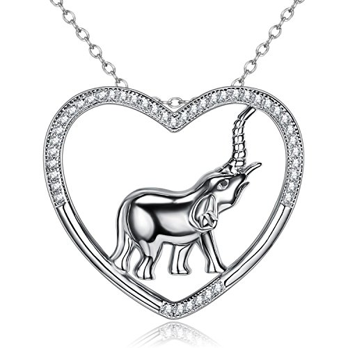 BGTY Sterling Silver Lucky Elephant Jewelry Heart Shaped Round Ear CZ Pendant (Heart Round Necklace)