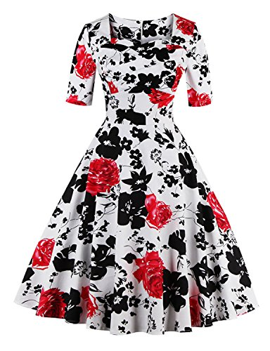 Pin Up Dresses For Sale (Vintage dress Women's Retro Fashion 1950's Inspired Rockabilly A-ling Dress WHITERED XL)