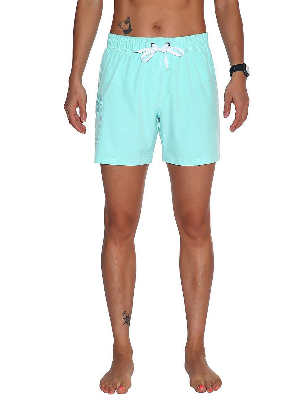 bluee(Side Velcro Pocket) Unitop Womens Bathing Boardshorts Swim Shorts Quick Dry with Mesh Lining