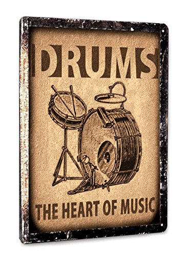 Drums set Metal Sign / Music Studio art / retro vintage style wall decor art 001 (Best Drums For Metal Music)