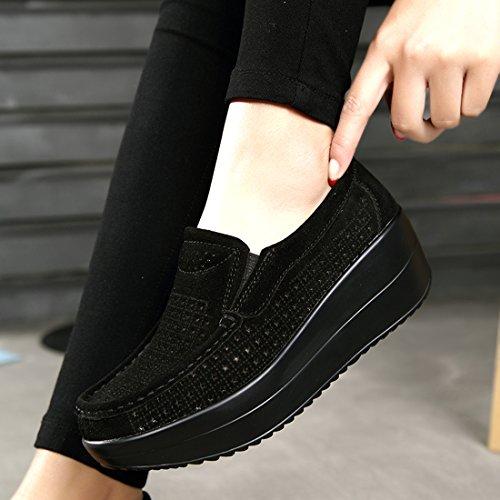 Loafers de Casual Moda 1 Mujer Negro SUO Cuero Mocasines Zapatos Z Gamuza q0Z1T4
