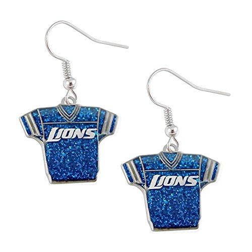 Sports Team Detroit Lions Jersey Dangle Glitter Earring Set -