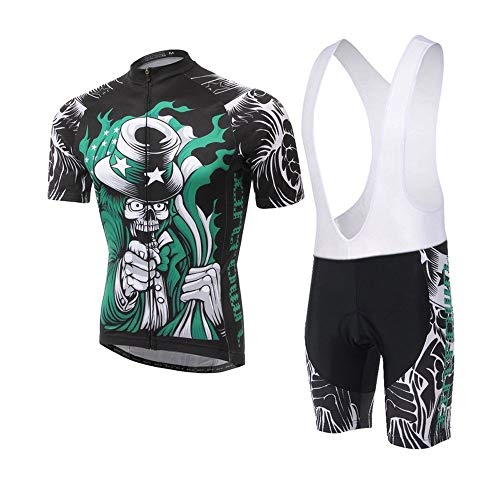 Micye Multiple Styles Fashion Men's Outdoor Cycling Wear Not Fade Use of Italian Premium of Ink Biking Clothes Full Zipper Close-Fitting Breathable Cycling Jersey Set (Color : Style-G, Size : L) (Used Racing Bikes For Sale In India)
