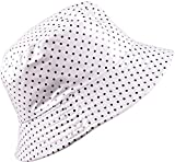 YJDS Women's Rain Hat Waterproof Wide Brim Packable Dots White