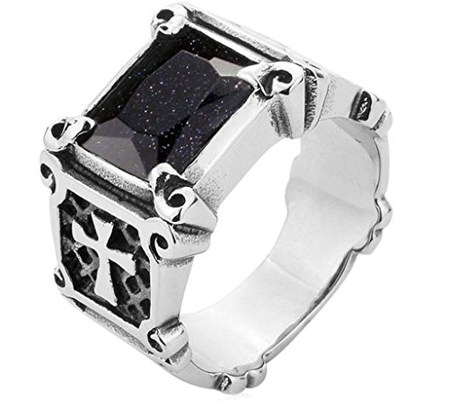 Bishilin Vintage Men's Punk Cross Stainless Steel Ring With Blue Diamonds Size 13