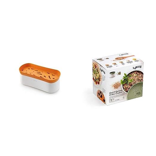 Lékué Recipiente para cocinar Pasta en microondas + Recipiente para cocinar Quinoa, Arroces y Cereales, 1 Litro