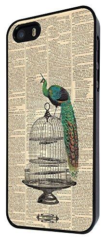 594 - Vintage Shabby Chic Peacock Newspaper Design iphone 4 4S Coque Fashion Trend Case Coque Protection Cover plastique et métal - Noir