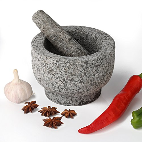 AntTech Granite Mortar and Pestle Gray Mortar Make Fresh Flavor Spice Herb Grinder Tool - 6 Inch Diameter (Tools Spice)