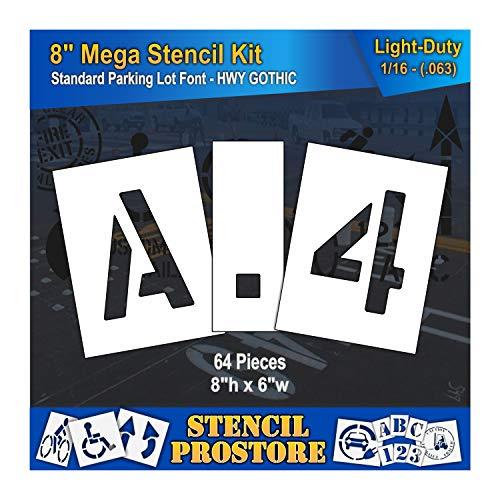 Pavement Stencils - 8 inch MEGA Alpha/NUM Set - (64 Piece) - 8