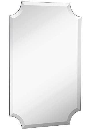 Beveled Scalloped Edge Rectangular Wall Mirror 1 inch Bevel Curved Corners Rectangle Mirrored Glass Panel for Vanity, Bedroom, or Bathroom Hangs Horizontal Vertical Frameless 20 x 30