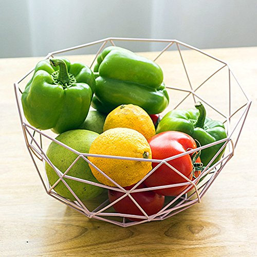 Euro Antique Simple Art Fresh Fruit Container Dry Steel Metal Basket Iron Wire Organizer Vegetable Rack Storage Tray Holder Table Snack Bowl Artificial Display Cool Gift Round Tiered (White) -