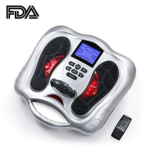 Professional Electrical Muscle Stimulator Foot & Body Massager Machine Increase Blood Circulation,Relax Stiffness Muscles,Reduce Swollen Feet And Fatigue,Relieve pain - FDA CLEARED (SILVER)