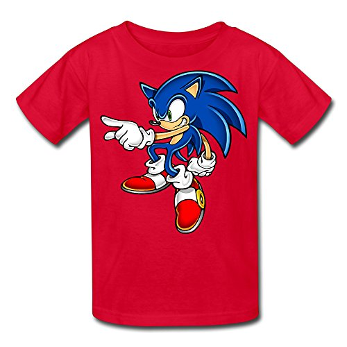 Kid's 100% Cotton Sonic Art Assets Dvd Sonic The Hedgehog 16 Cool T-Shirt Red US Size S