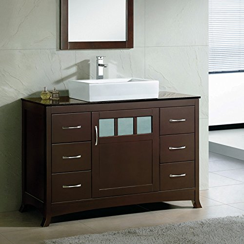 Solid wood 48 bathroom vanity cabinet black granite stone top vessel sink faucet t48bt1 Solid wood bathroom vanities cabinets