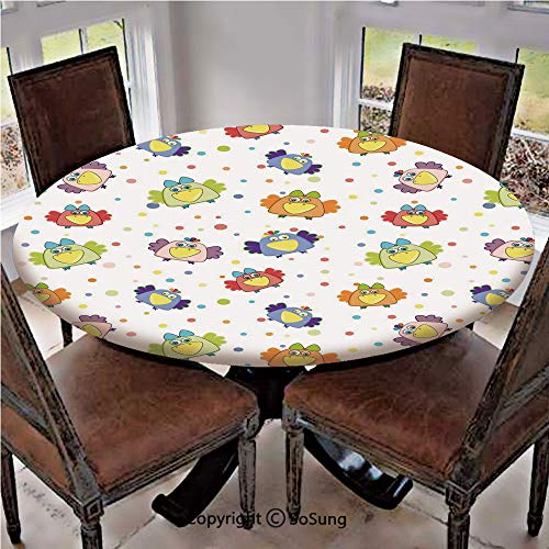 - Elastic Edged Polyester Fitted Table Cover,Cartoon Doodle Ravens with Dotted Background Colorful Happy Birds Animal Love Fun Decorative,Fits up to 36