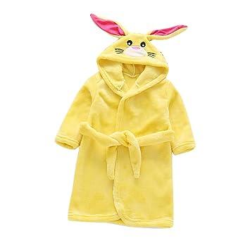 Runyue Toalla para Niños con Capucha Felpa Albornoz de Dibujos Animados Pijamas Conejo Amarillo 90