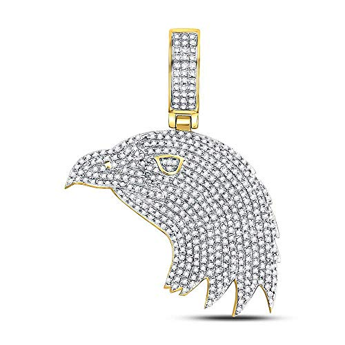 Dazzlingrock Collection 10kt Yellow Gold Mens Round Diamond Eagle Head Charm Pendant 1.00 Cttw