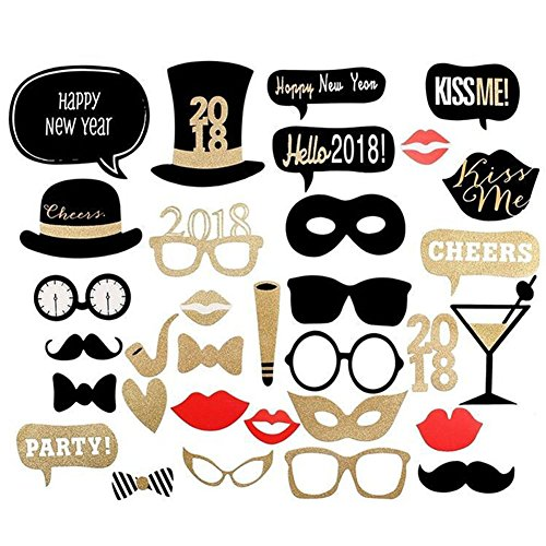 New Year Eve Photo Booth Props Face Mask,2018 Bling Bling Party Art Crafts Favors DIY Kit 26 Count (26 count #1)