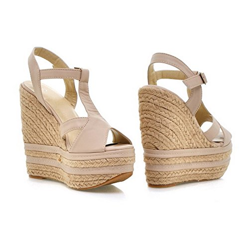VogueZone009 Womens Open Peep Toe High Heel Platform Wedge PU Soft Material Solid Sandals, Beige, 5 UK