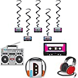 80s and 90s Theme Party Bundle   5 Hanging Cassette Tape Swirls and 4 Large 1980s and 1990s Graphic Design Cutouts