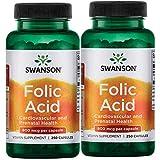 Swanson Folic Acid 800 mcg (1Vitamin 335 mcg Dfe Folate) 500 Capsules 2 Bottles