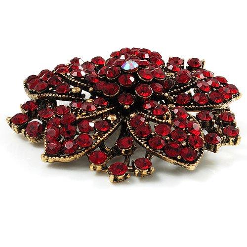 Victorian Corsage Flower Brooch (Burgundy Red & Antique Gold) nKBbX