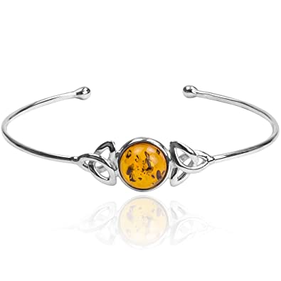 Amber Sterling Silver Bangle Bracelet Length 19cm JWPbDCLz