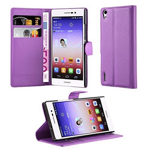Cadorabo Book Case Works with Huawei Ascend P7 in Pastel Purple - with Magnetic Closure, Stand Function and Card Slot - Wallet Etui Cover Pouch PU Leather Flip (Huawei Ascend P7 Smartphone)