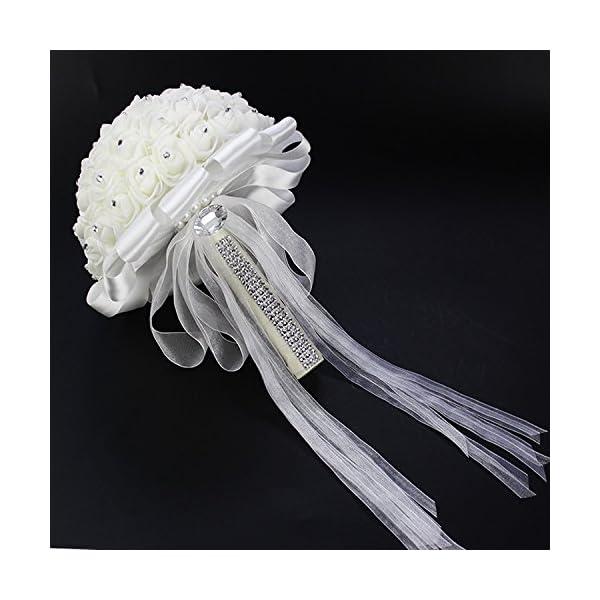 Antrader White Rhinestone Ribbon Bridal Wedding Bouquet Handmade Artificial Silk Holding Flowers for Wedding