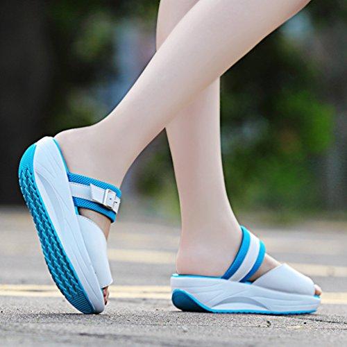 LINNUO Women Platform Sneakers Faux Leather Slip On Wedge Heel Slipper Driving Walking Peep Toe Thick Bottom Summer Shoes Blue oIXiP