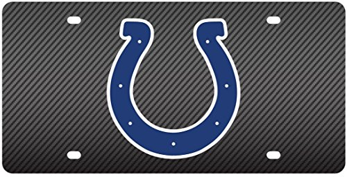 Indianapolis Colts Deluxe CARBON Fiber Style Laser Inlay License Plate Tag ()
