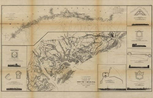 Civil War Map Reprint: Coast of South Carolina from Charleston to Hilton Head.