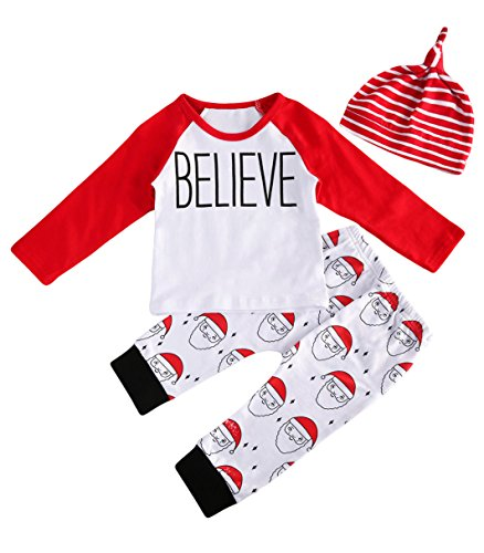 Christmas Outfit Baby Boy Santa Claus Outfit--Long Sleeve Homeboy Romper+ Stripe Long Pants Clothing Set (12-18 Months, (Santa Clothes)