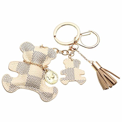 Fashion Bear Tassel Charm Car Purse Wallet Handbag PU Leather Key Chain Ring